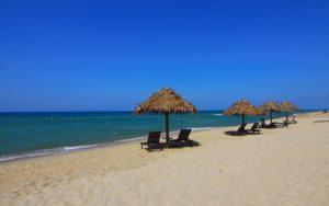 loungers on beach